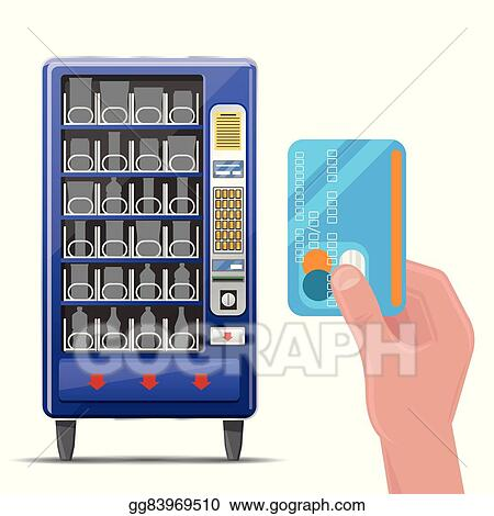 vector clipart vending machine and hand with credit card vector