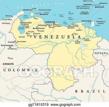 Vector Stock Venezuela political map Clipart Illustration