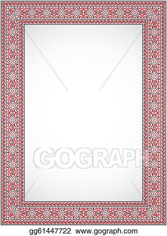 Vector Clipart - Vertical vector frame - cross stitch ukrainian ...