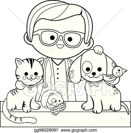 vector stock veterinarian and pets coloring book page stock clip