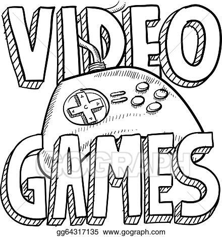 vector illustration video games sketch stock clip art gg64317135 Xbox Video Games video games sketch