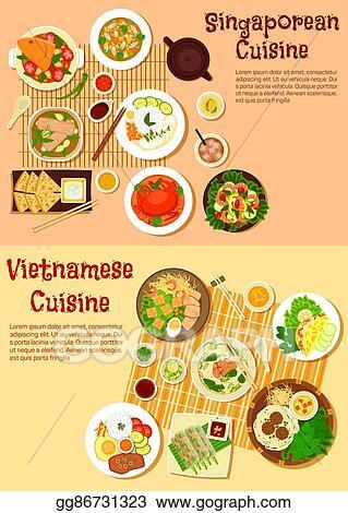 Vector Illustration Vietnamese And Singaporean Cuisine Flat Icon