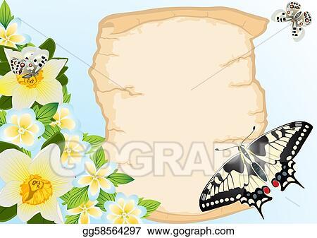 Dessin Vieux Papyrus Fleurs Et Butterflie Gg58564297
