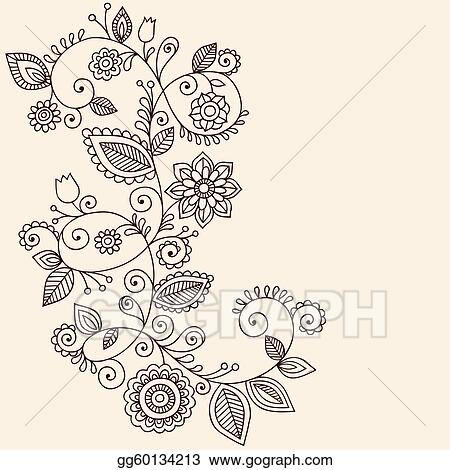 Vector Art Vines Henna Tattoo Paisley Vector Eps Clipart