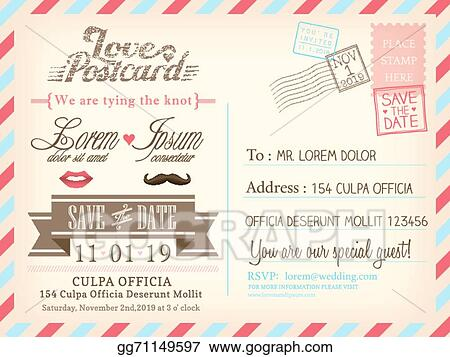 Vintage Airmail Postcard Background Vector Template For Wedding Invitation Card