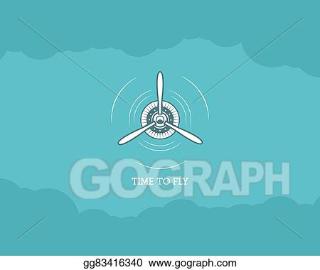 Vector Art Vintage Airplane Background With Sky Propeller