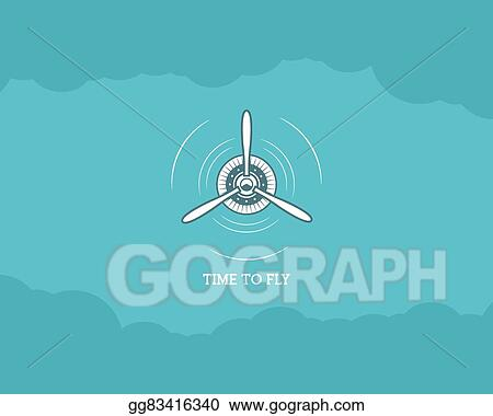 Vector Art Vintage Airplane Background With Sky Propeller Emblem