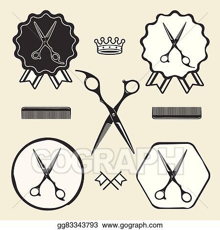 Vector Stock Vintage Barber Shop Scissors Symbol Emblem Label