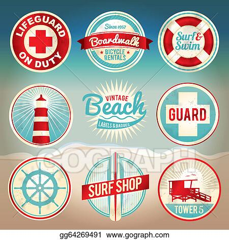 486aa548803 EPS Vector - Vintage beach labels and badges. Stock Clipart ...