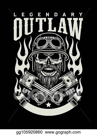 f75813b4f8f69 Clip Art Vector - Vintage bearded biker skull with crossed pistons ...