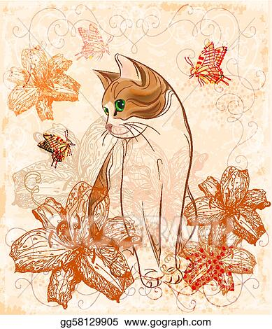 Vector Art Vintage Birthday Card With Cat And Lilies Clipart