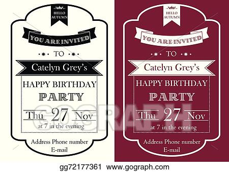 vector art vintage birthday party invitation clipart drawing