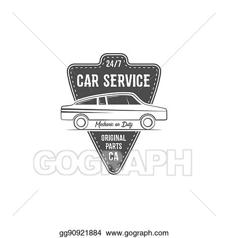 Drawing - Vintage car service label design  automotive