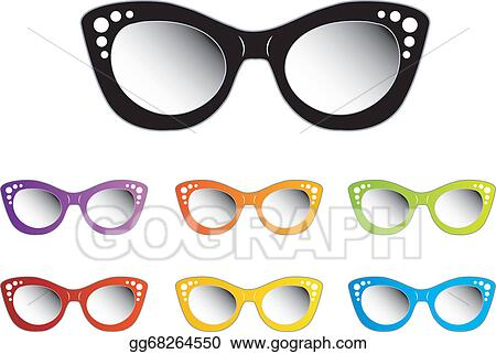 11e3b6d479c Vector Art - Vintage cat eye eyewear for ladies. Clipart Drawing ...