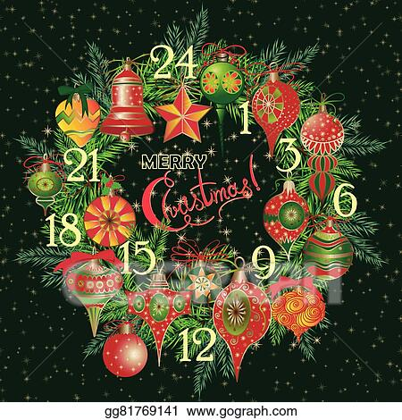 Vector Stock Vintage Christmas Advent Calendar Stock Clip Art