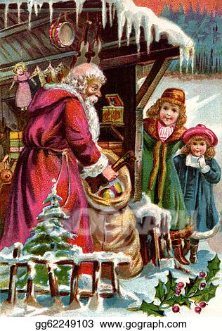 vintage christmas card of santa claus delivering gifts to two girls - Vintage Christmas Gifts
