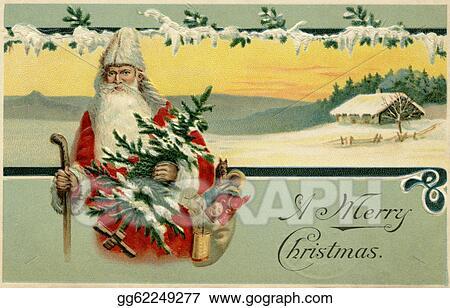 Vintage Christmas Illustrations.Stock Illustration Vintage Christmas Card Of Santa Claus