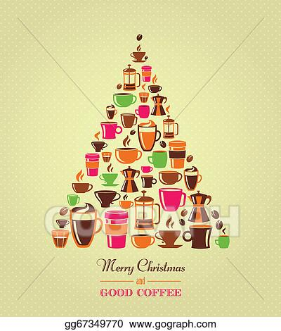 Eps Vector Vintage Christmas Tree Coffee Icons Stock Clipart