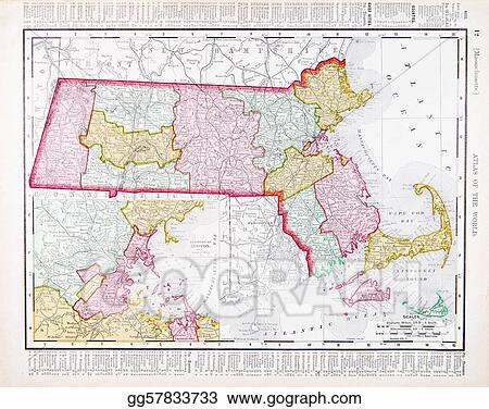 Stock Image Vintage Color Map Of Massachusetts United States - Massachusetts-in-us-map