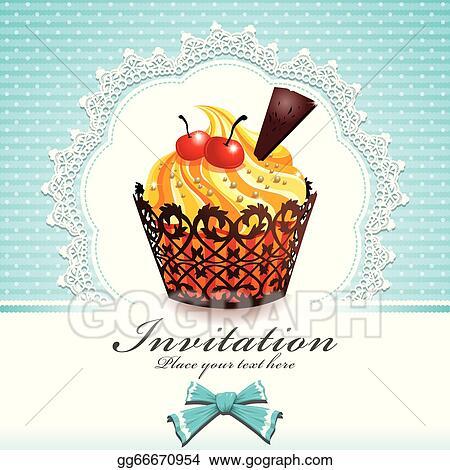 Vector Art Vintage Cupcake Design Template Eps Clipart Gg66670954