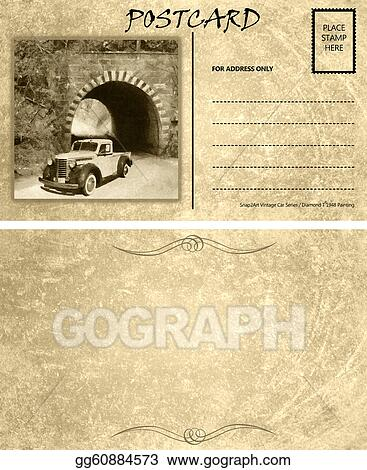 clipart vintage empty blank motor car postcard template front back