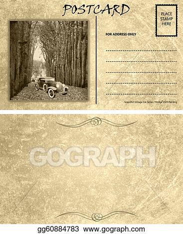 clipart vintage empty blank motor car postcard template front back