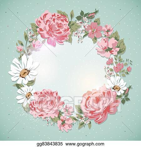 Vector Illustration Vintage Floral Card Border Of Flowers Rose