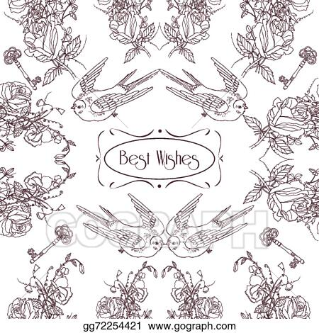 Vector Art Vintage Flowers Birds Card Pattern Clipart Drawing