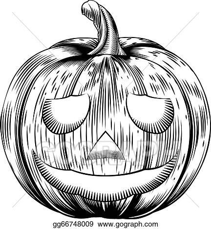 Retro Vintage Halloween Clip Art.Vector Stock Vintage Halloween Pumpkin Clipart Illustration