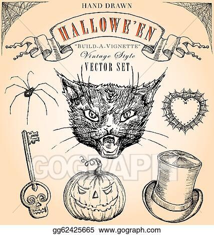 Vector Art , Vintage halloween vector set. EPS clipart
