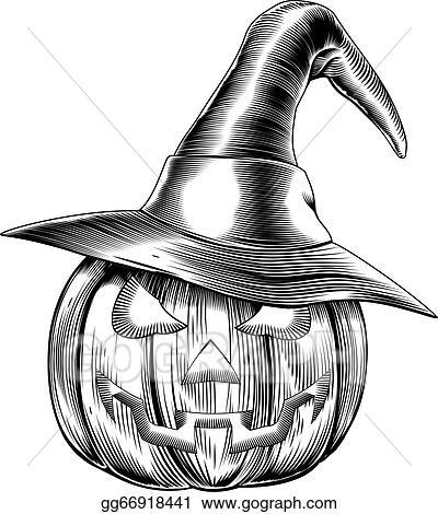 Halloween Vintage Clipart.Vector Art Vintage Halloween Witch Pumpkin Eps Clipart Gg66918441