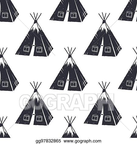 Vector Illustration Vintage Hand Drawn Hiking Adventure Pattern Design Camping Seamless Wallpaper With Tent Monochrome Retro Design Vector Illustration Use For Fabric Printing Web Projects T Shirts Eps Clipart Gg97832865 Gograph