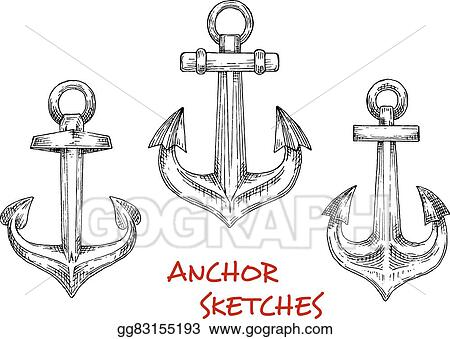 d4d81f5a9 Vector Illustration - Nautical heraldic sketch icons of vintage decorative marine  anchors. may be use as navy emblem or tattoo design . Stock Clip Art ...