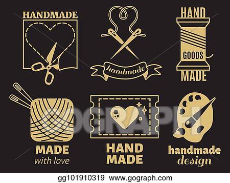 Vector Stock Vintage Hipster Handiwork Handmade Vector Badges