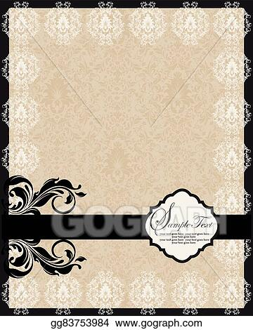 Vector Art Vintage Invitation Card With Ornate Elegant