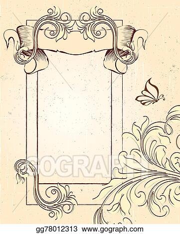 Vector Illustration Vintage Invitation Card With Ornate