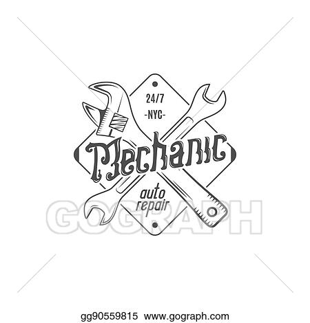 Stock Illustration - Vintage label design  mechanic auto
