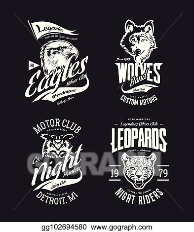 22cd4ea3 Vintage leopard, wolf, eagle and owl bikers club t-shirt vector isolated  logo set.