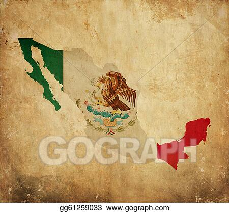stock illustration vintage map of mexico on grunge paper clipart