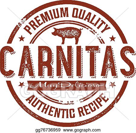 Vector Illustration Vintage Mexican Carnitas Pork Stamp Eps