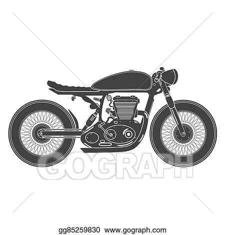 Vector Art Vintage Motorcycle Cafe Racer Theme Clipart Drawing