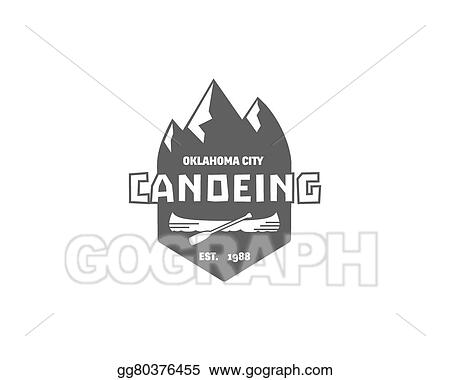 Rafting Canoeing Camp Logo Label Badge With Boat Stylish Monochrome Design Outdoor Activity Theme Summer And Winter Vacation Insignia Vector