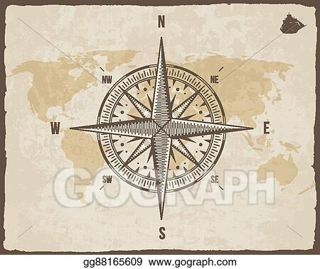 Clip art vector vintage nautical compass old world map on vector vintage nautical compass old world map on vector paper texture with torn border frame wind rose background ship logo silhouette gumiabroncs Images