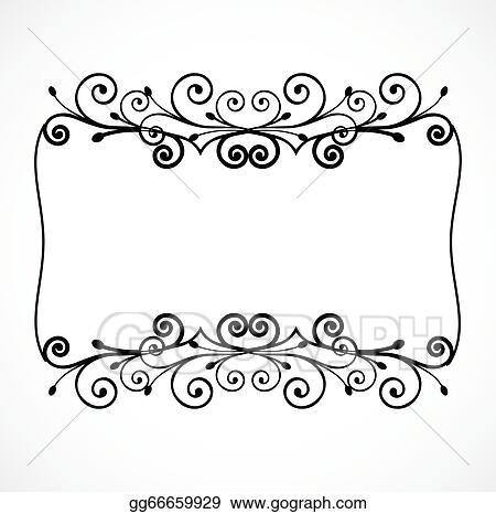 Vector Art - Vintage ornament floral frame. vector. Clipart Drawing ...