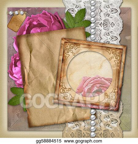 Vintage Paper Frame On Background