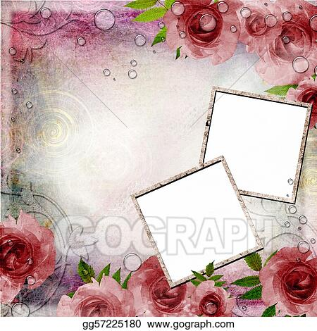 Stock Illustration - Vintage pink and green background with frames ...