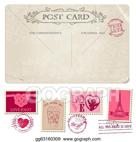 Vector Art Vintage Postcard And Postage Stamps For