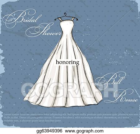 Vector Art - Vintage poster with beautiful wedding dress. Clipart ...