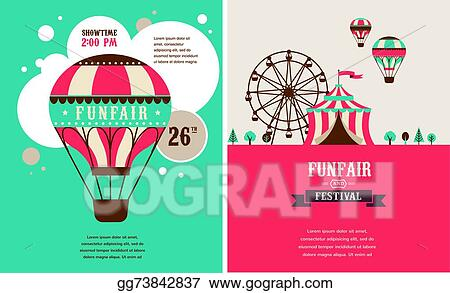 Vintage Poster With Carnival Fun Fair Circus Vector Background