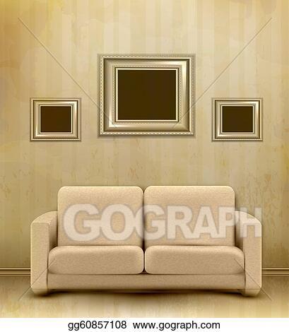 Stock Illustration - Vintage retro interior with sofa and three ...